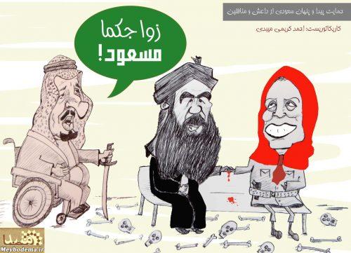 روایت کاریکاتوریست میبدی درباره حمایت عربستان از منافقین و داعش