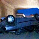 فوت راننده جوان در اثر سقوط خودروی ۴۰۵ در کمربندی میبد +عکس