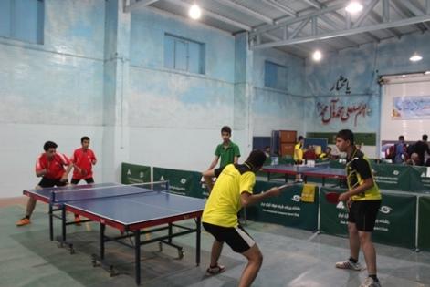 رقابت حرفهایها و مبتدیان تنیس روی میز در میبد