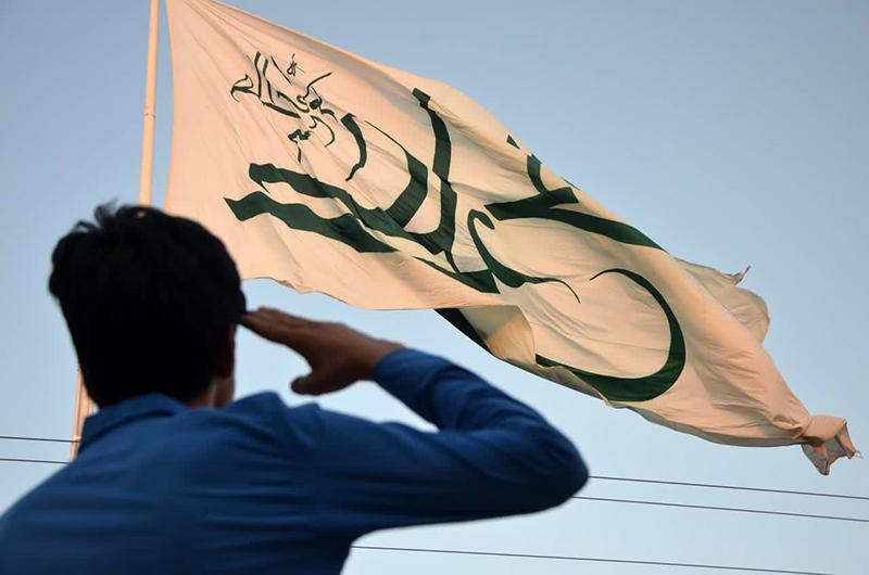 آئین برافراشتن پرچم علوی در میبد برگزار شد+ تصاویر